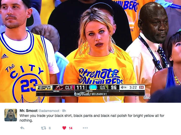 So we now know Claire Bogle is the Sad Warriors Fan who was struggling after the Cavs saved their season for another day and won Game 5 in Oakland. Who is Claire Bogle? She's best known, I guess, ...